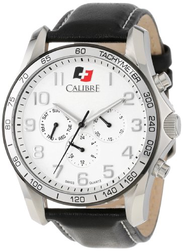 "Calibre Men's ""Buffalo"" Stainless Steel and Leather Watch"