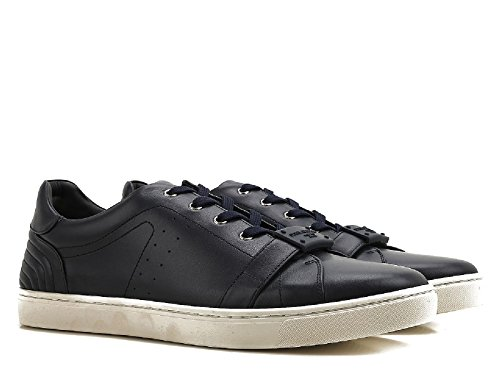Dolce & Gabbana Men's Black Calf Leather Sneakers Shoes - Size: 10 US
