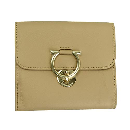 Salvatore Ferragamo Gancini Beige Leather Bifold Wallet Almond