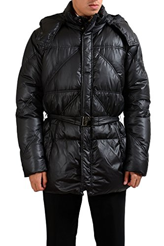 Versace Collection Men's Duck Down Hooded Belted Parka Jacket