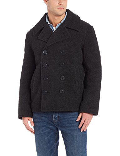 Alpha Industries Men's USN Wool Pea Coat, Grey, Medium