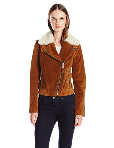 Andrew Marc Women's Sage Leather Jacket with Dyed Sheep Collar