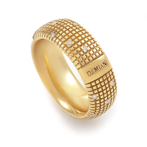 Damiani Metropolitan 18K Yellow Gold 18 Diamonds Textured Band Ring