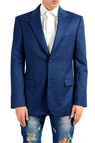 Versace Men's Cashmere Wool Blue Two Button Blazer