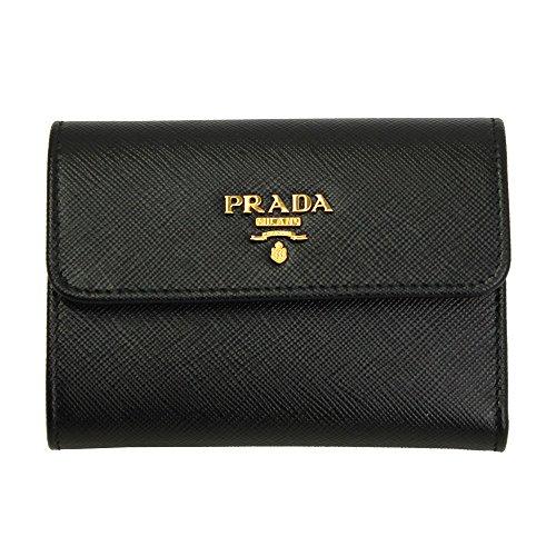 Prada Black Saffiano Leather W/Metal logos Tri-fold Wallet Nero