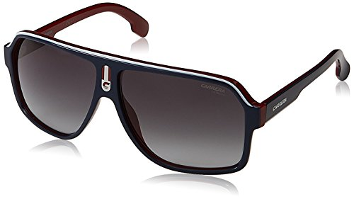 Carrera Men's Ca1001s Aviator Sunglasses, Blue RED/Dark Gray GRADIET, 62 mm