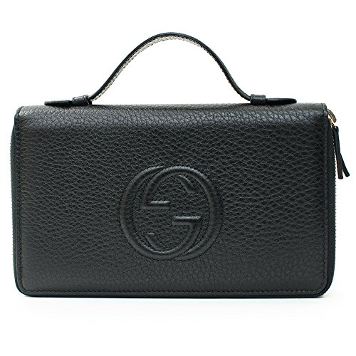 Gucci Black Travel Double zip Around Wallet Leather top Bag