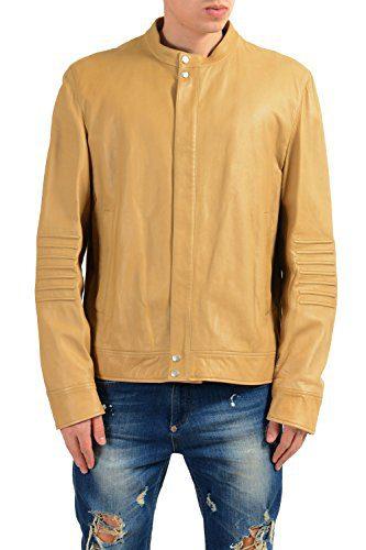 Gucci Men's 100% Leather Beige Full Zip Jacket