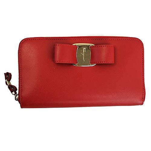 Salvatore Ferragamo Vara Red Leather Long Wallet Lipstick
