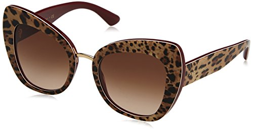 Dolce & Gabbana Women's Ortensia Cat Sunglasses, Leo/Brown, One Size