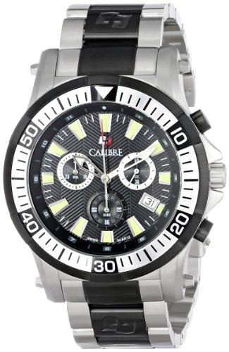 "Calibre Men's ""Hawk"" Chrono Analog Quartz Silver Dive Watch"