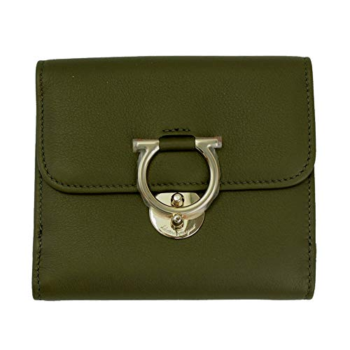 Salvatore Ferragamo Gancini Green Leather Bifold Wallet Army