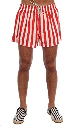Dolce & Gabbana Red White Striped Beachwear Shorts