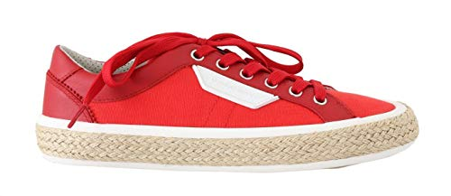 Dolce & Gabbana Red Leather Cotton Sneakers