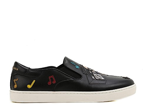 Dolce e Gabbana Men's Black Leather Slip On Sneakers