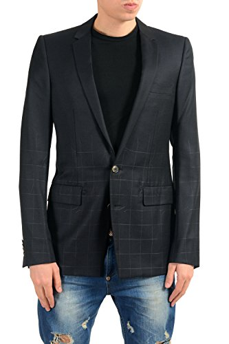 Versace Men's Silk Wool Black Two Button Blazer Sport Coat