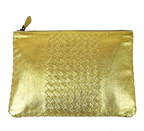 Bottega Veneta Women's Gold Leather Woven Clutch Bag