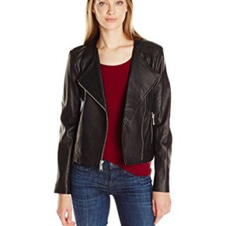 Andrew Marc Women's Riley Zipper Sleeve Leather Jacket, Black, M