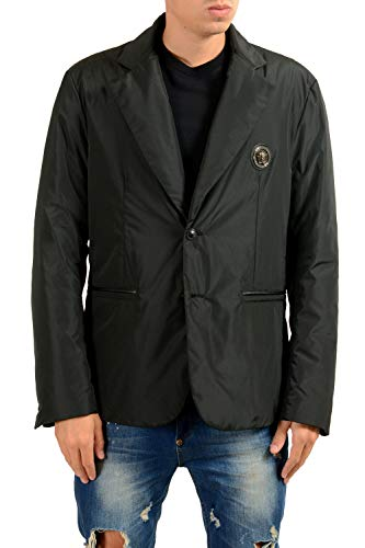 Versace Men's Black Lightly Insulated Two Button Blazer Sport Coat