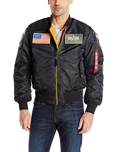 Alpha Industries Men's MA-1 Flex Flight Bomber Jacket, Black, Medium