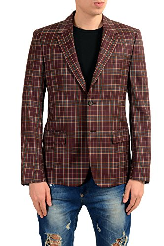 Alexander McQueen Men's 100% Wool Plaid Two Button Blazer Sport Coat