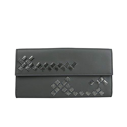 Bottega Veneta Women Intercciaco Dark Gray Leather Long Wallet