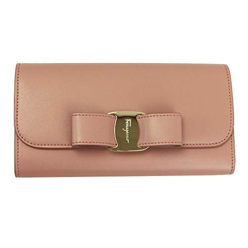 Salvatore Ferragamo Vara Pink Leather Bifold Long Wallet Antiwue Rose