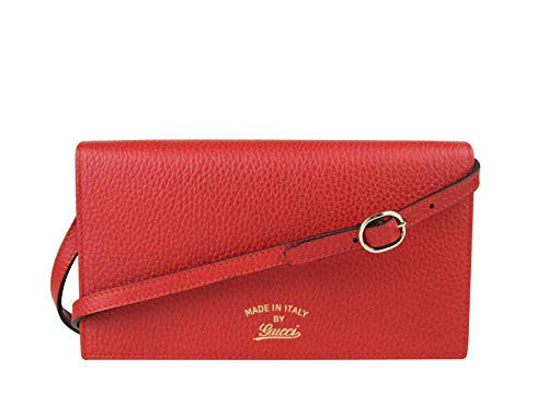 Gucci Women's Swing Red Leather Crossbody Clutch Wallet
