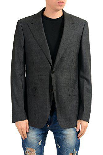 Versace Men's Silk Wool Charcoal Two Button Blazer Sport Coat