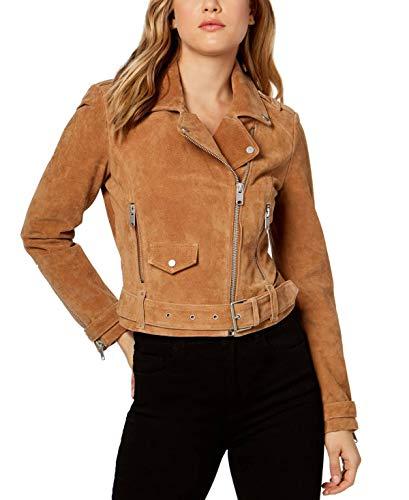 Marc New York Womens Suede Belted Moto Jacket Cognac L