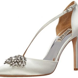 Badgley Mischka Women's Palma Pump, White Satin, 6 M US