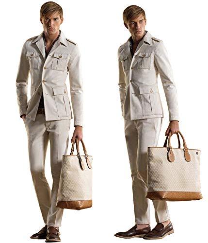 Gucci Men's Beige Cotton 4 Buttons Runway Blazer Coat Jacket
