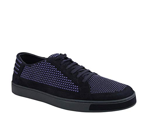 Gucci Bubble Studs Lace up Dark Blue Suede Leather Sneaker