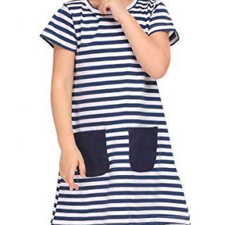 Arshiner Little Girls' Short Sleeve Tunic Shirt Dress
