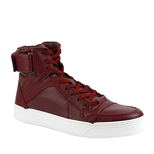 Gucci High Top Strong Dark Red Leather Sneakers With Strap