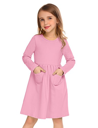 Arshiner Little Girls Long Sleeve Solid Color Casual Skater Dress