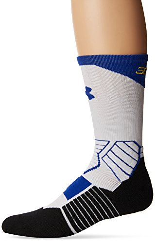 Under Armour Basketball Curry Crew Socks, White/Royal