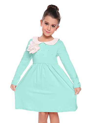 Arshiner Kids Girl Doll Neck Long Sleeve Patchwork Beads A-Line Dress