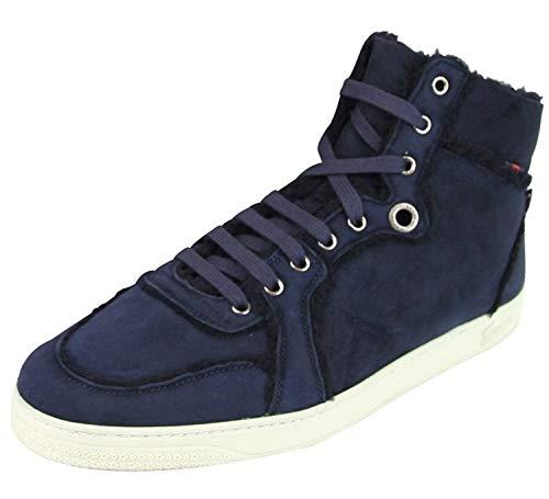 Gucci Men's Navy Blue Shearling High-Top Sneaker