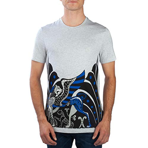 Versace Collection Men's Cotton Animal Logo Crewneck T-Shirt Grey