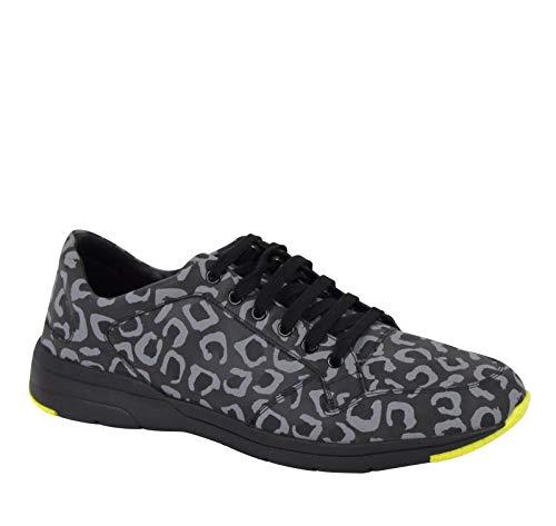 Gucci Reflex Leopard Print Gray/Yellow Fabric Running Sneakers