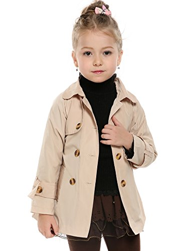 Arshiner Girls Double-Breasted Trench Jacket Coat Dress