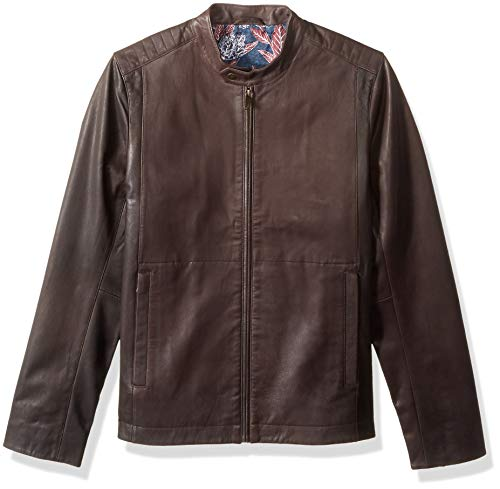 Ted Baker Men's Mate Modern Slim Fit Leather Biker Jacket