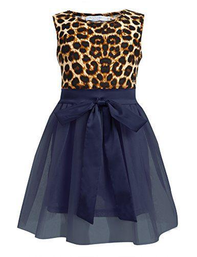 Arshiner Kids Girls Sleeveless Dress Leopard Tulle Dress