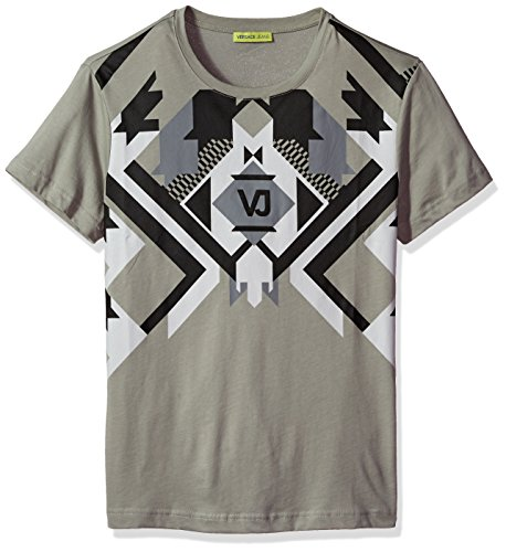 Versace Jeans Men's Optical Graphic Tee, Grey Dove, L