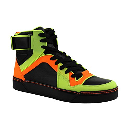 Gucci Mens Sneakers Neon Leather Logo High Top Basketball