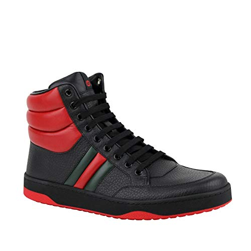 Gucci Men's GRG Web Detail Black/Red Leather Hi Top Sneakers