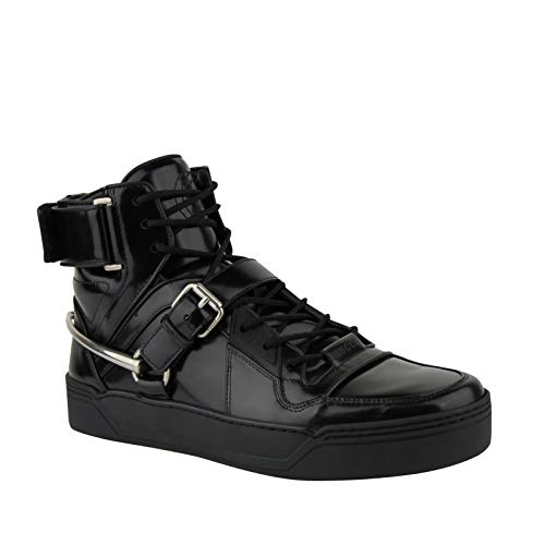 Gucci Men's Strap Horsebit Black Patent Leather Hi Top Sneaker