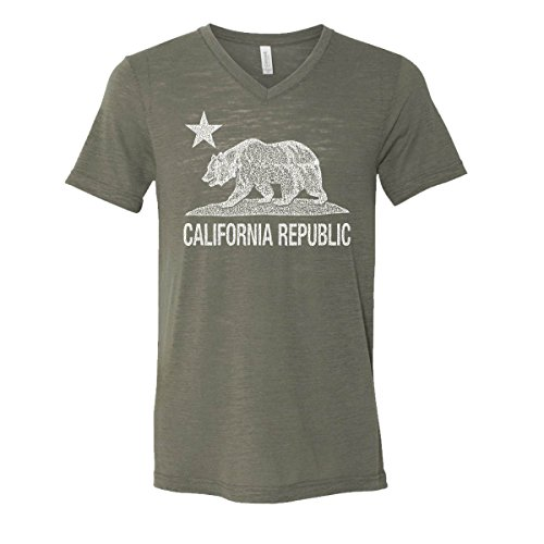 California Republic Mens V-Neck T-Shirt Cali Bear Star