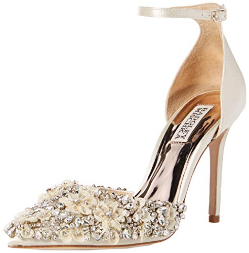 Badgley Mischka Women's FEY Pump, Ivory Satin
